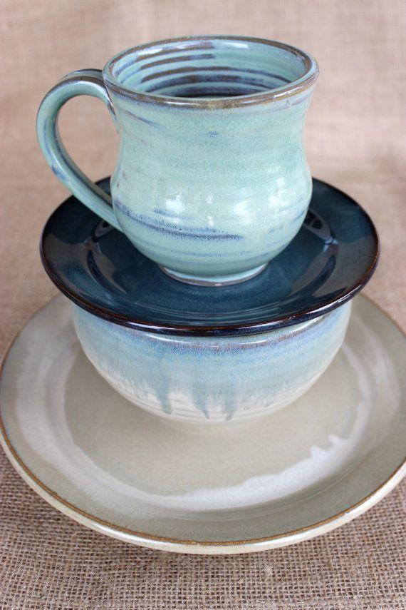 4 Stück Geschirr Set Mix und Match Steingut Keramik von AudPottery