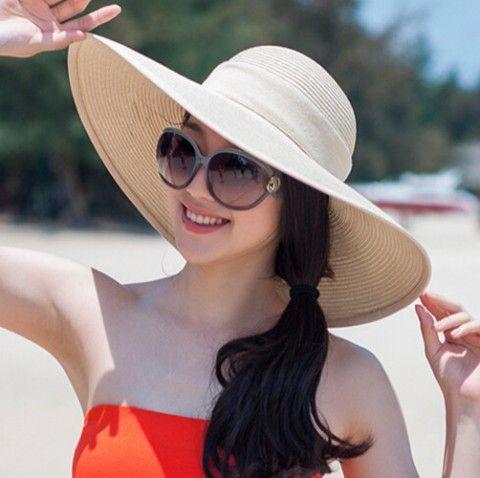 Summer wide brim sun hat for women UV bow straw hat beach package