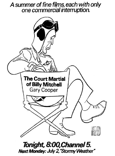 "Al Hirschfeld ~ IBM presents ""Movies to Remember"": Gary Cooper in ""The Court Martial of Billy Mitchell"""