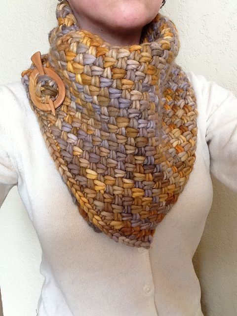knorman13s Rasta Plaited Basket Stitch Cowl. malabrigo Rasta, Laguna Negra color.