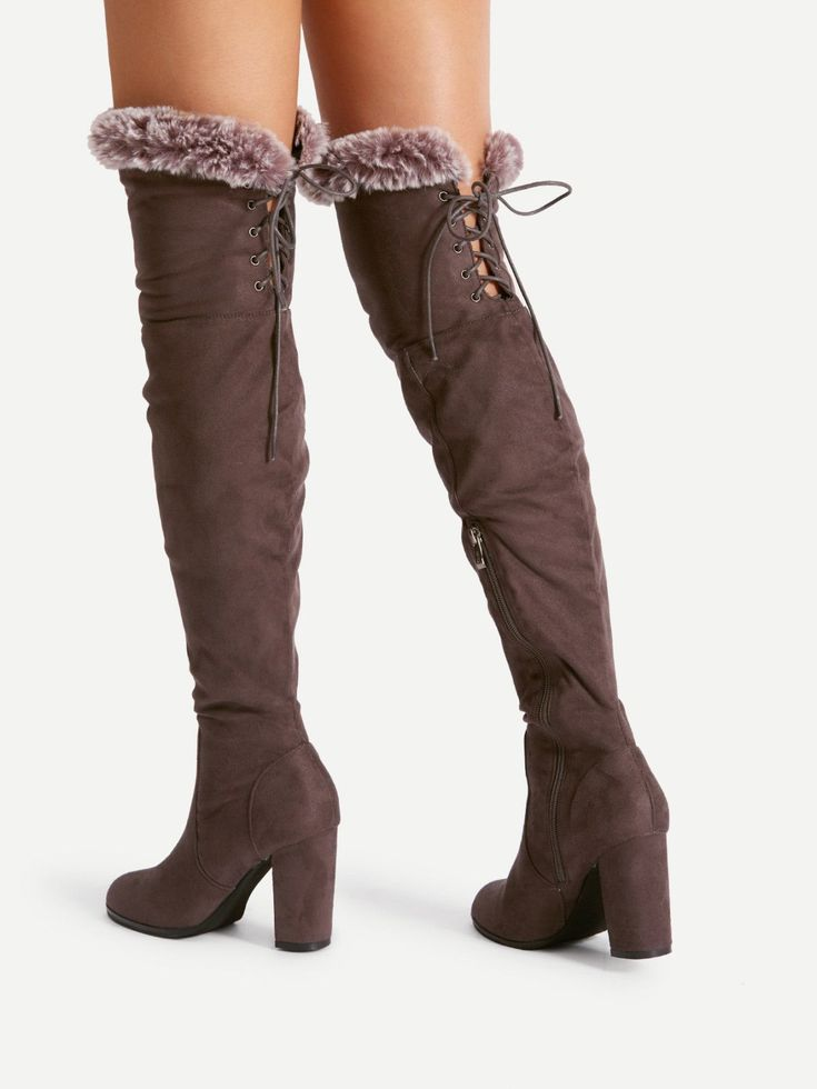 Knee High Decorated with Lace Up. High Heel Boots with Almond Toe. Boots have Side zipper. Perfect choice for Casual, Elegant wear. Trend of Winter-2018. Designed in Coffee.
