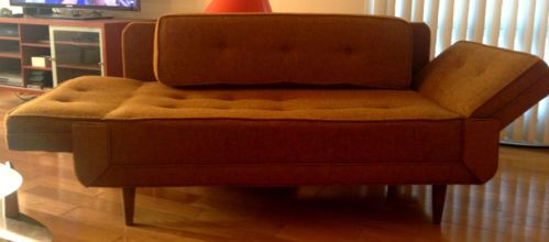 Details About Vintage Retro Mid Century Loveseat Sleeper Sofa Daybed Fold Down Arms