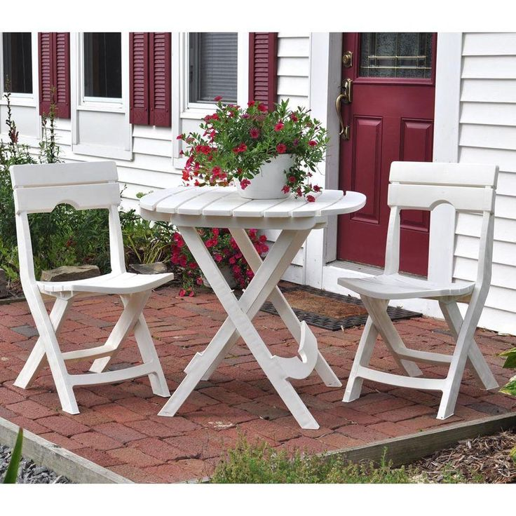 Adams Manufacturing Quik Fold 3 Piece White Patio Cafe Set 8590 48