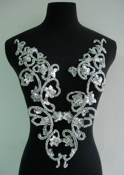 white flower lace applique | BD54 Curl Floral Sequin Bead Applique Bodice Silver