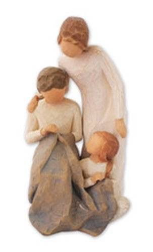 "Willow Tree's Generations statuette is all about families making memories that last lifetimes. Made from resin and standing 7"" high, this piece depicts three generations of women around a handmade qui"