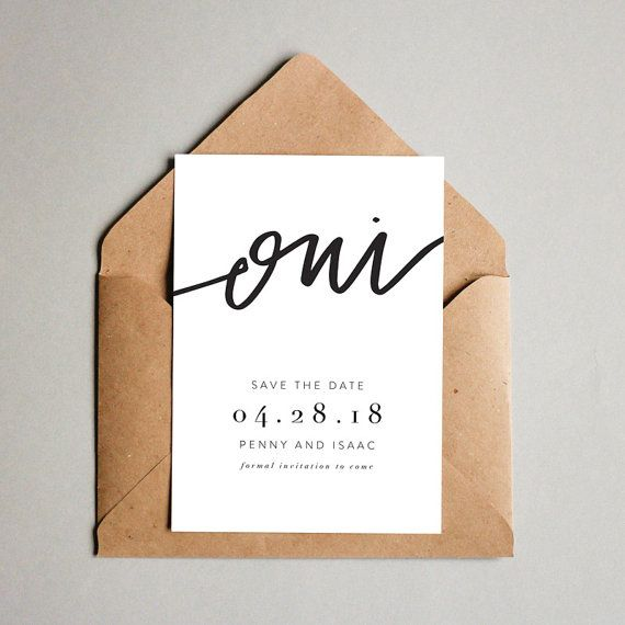 Oui // Printable Save the Dates // Calligraphy by MontgomeryFest
