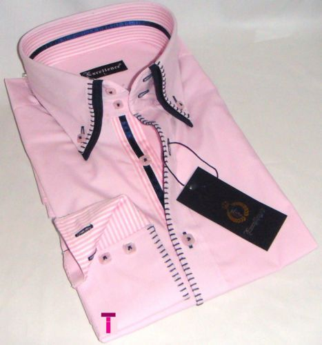 Brand New Mens Formal Pink Smart Italian Design Double Collar Slim Fit Shirt
