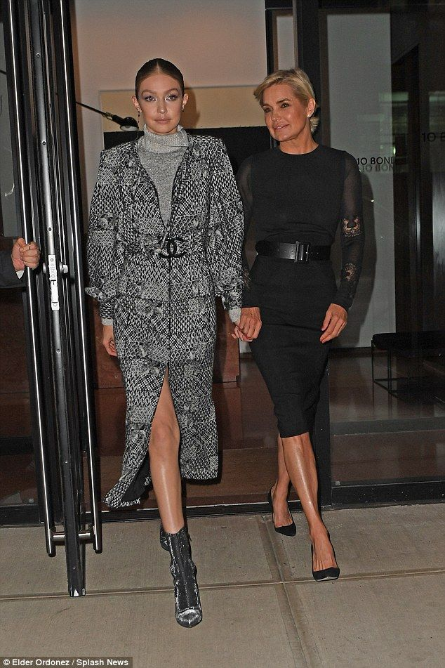Work it! Bella, 21, and Gigi Hadid, 22, kept up appearances as they left Gigi's apartment with their former model mother Yolanda Foster in New York City on Monday night