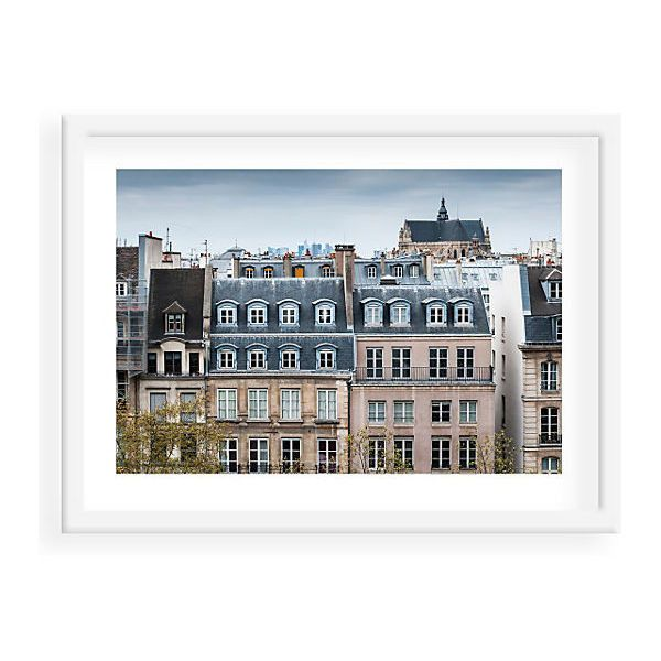Paris Rooftops I Photographs ($225) ❤ liked on Polyvore featuring home, home decor, wall art, paris wall art, parisian home decor, white wall art, white home decor y framed wall art