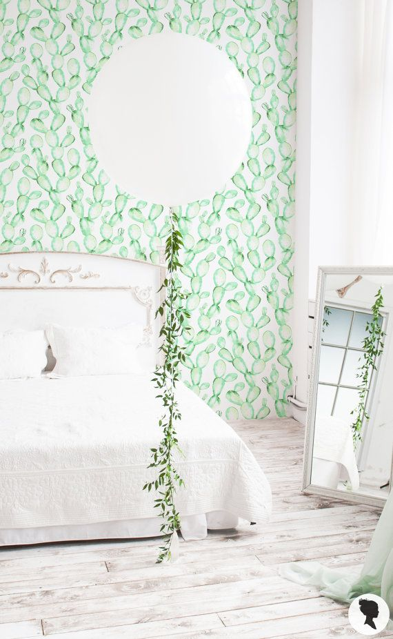 15% OFF Watercolour Cactus Removable Wallpaper / by Livettes