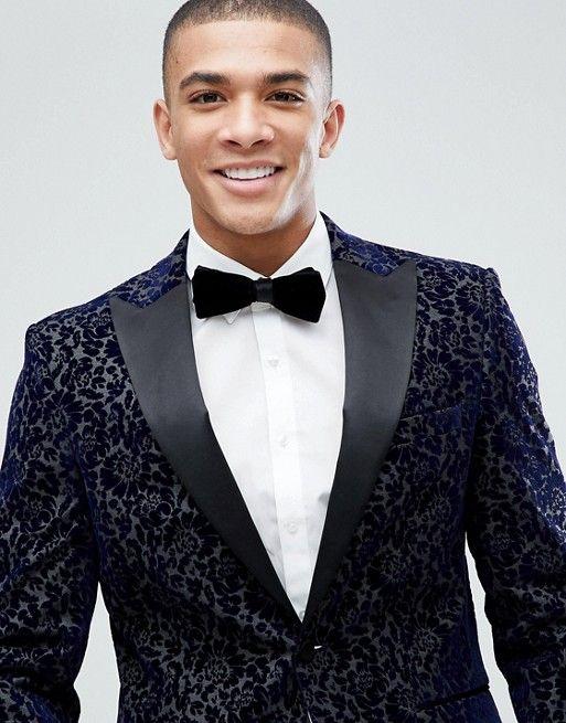 99108c0f9d88 Moss London Skinny Blazer In Flocked Velvet | Velvet Wedding Jacket |  Groom's Attire | Men's Wedding Fashion | Suit Style | Dapper Style | Black  Tie Wedding ...