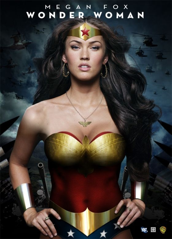 Megan Fox Wonder Woman Poster: For awhile rumors were running around the web that Megan Fox was in talks for a Wonder Woman movie. As bad as that casting is this poster that a fan made is one of the best!