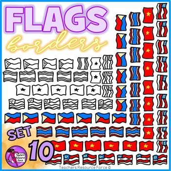 Flag Borders Clipart Doodle Style (Philippines, Malaysia, Thailand, Vietnam)