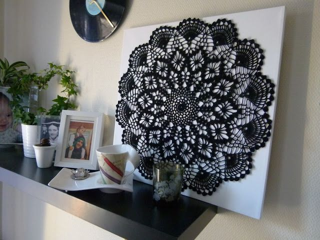 crochet wall art | crochet a black doily, mount it on a canvas and hang it on the wall ...