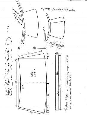 Esquema de modelagem de saia envelope simples tamanho P.