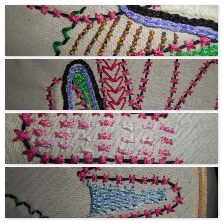 Sunday Share week 6 couching heart chain stitch sheath stitch buttonhole stitch