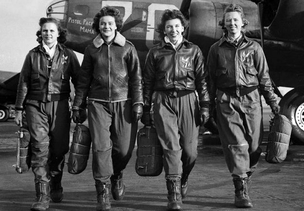 Female WWII Pilots. WASP (Women Airforce Service Pilots) Frances Green, Margaret Kirchner, Ann Waldner and Blanche Osborn. Their B-17 is called Pistol Packin' Mama. They're carrying their parachutes. More than 1100 young women, all civilian volunteers, flew almost every type of military aircraft — including the B-26 and B-29 bombers — as part of the WASP program.