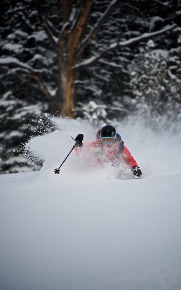 Skiing Deep Podwer in Montana