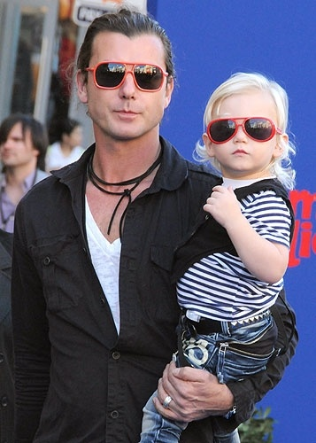 Gavin Rossdale and his son Kingston show off their red sunglasses in Los Angeles.