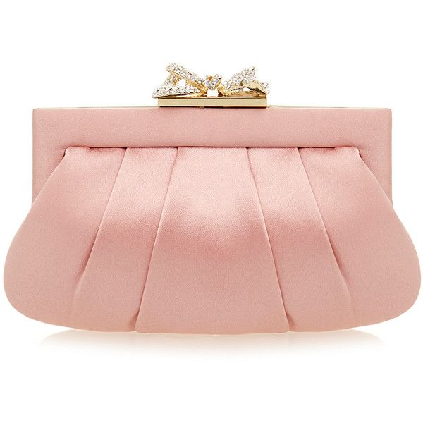 Wilbur & Gussie Margot Dusty Rose Ribbon Silk Clutch Bag ($165) ❤ liked on Polyvore featuring bags, handbags, clutches, pink, chain handbags, chain purse, ribbon purse, pink handbags and red handbags