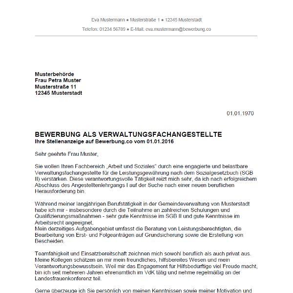 Bewerbungsschreiben Als Verwaltungsfachangestellte