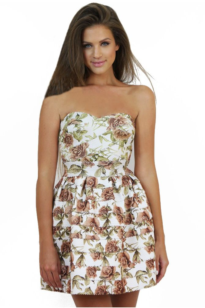 Brown Strapless Floral Dress- ideal for a special event. Available at www.famevogue.ro. #dress #floral #fashion #style #trends