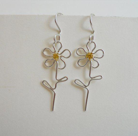 Sterling Silver Sweet Small Flower Dangles Gemstone Earrings Delicate Earrings Flower Dangles