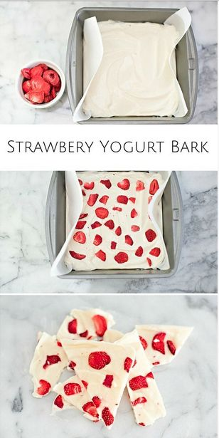 Healthy strawberry yogurt bark! The kids are sure to love this one!