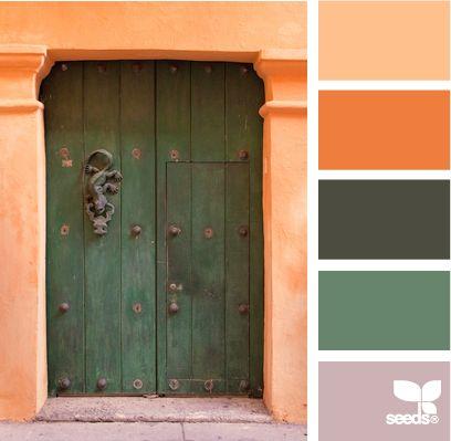 a door colorColors Combos, Color Palettes, Living Room Colors, Orange Grey Green Colours, Colors Palettes, Colors Schemes, Design Seeds Orange Grey, Grey Green Design Seeds, Doors Colors
