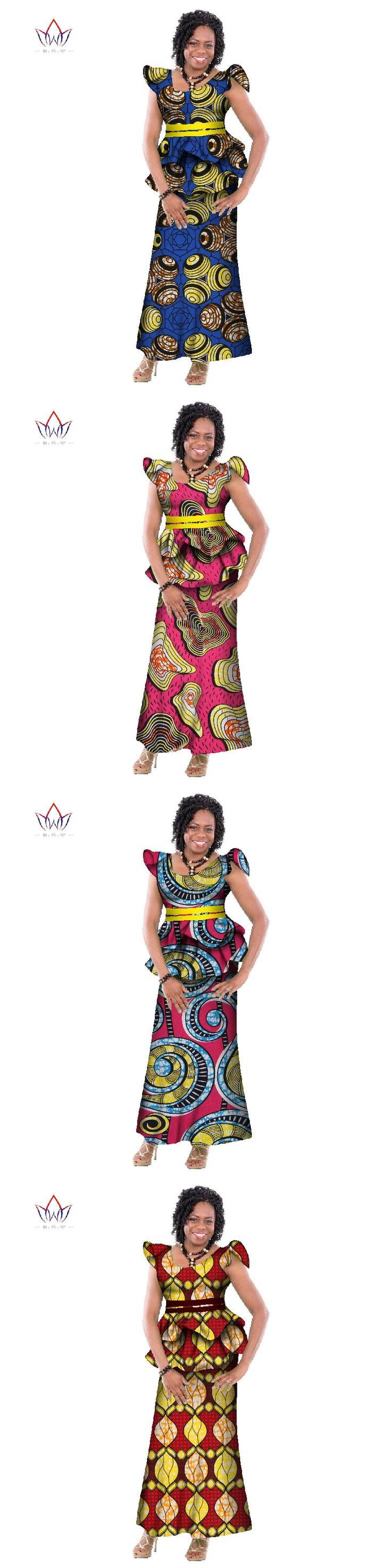 2017 Fashion New Bazin Riche African Wax Print Skirt Custom Clothing African Dashiki Fabric Plus Size Skirt Sets Women WY164