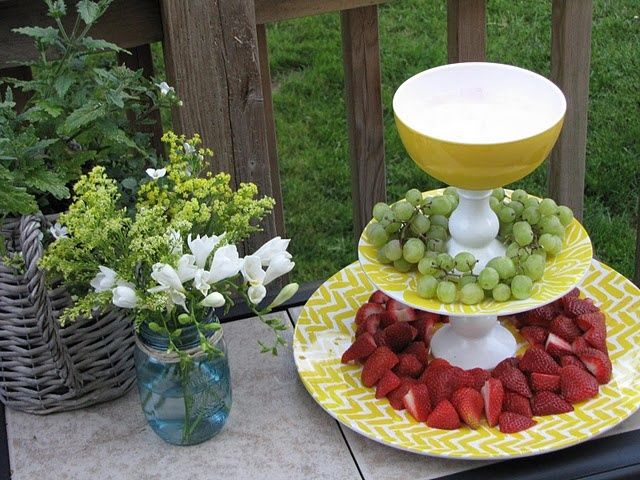 Fruit tiers. I make these for parties using three tiered cake stand. Layer the plate with kale and place fruit on kale. Always a huge hit.