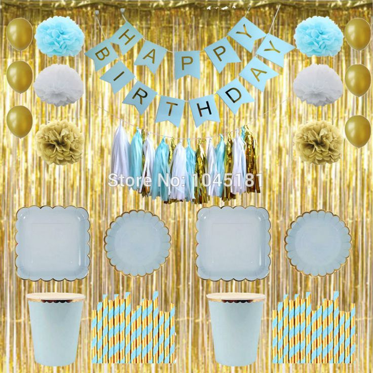 ==> [Free Shipping] Buy Best Blue&Gold Boys Happy Birthday Banner Foil Fringe Curtain Tassel Garland Paper Pom Poms Paper Plates Cups Napkins for Decorations Online with LOWEST Price   32805561282