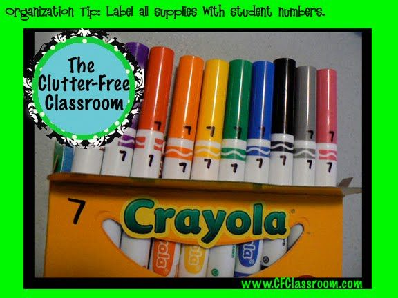 Clutter-Free Classroom: Organization Tip: Numbering Student Supplies: Good Ideas, Clutter Fre Classroom, Markers, Students Supplies, Numbers Students, Classroom Organizations, Tips, Great Ideas, Classroom Ideas