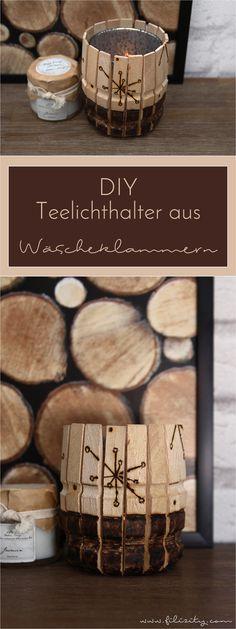 Mit diesen DIY Teelichthaltern mit Brandmalerei aus hölzernen Wäscheklammern sorgst du im Handumdrehen für stimmungsvolle Winter-Dekoration. #filizity #diy #deko #holz #winter #kerze #teelicht #candle #kerzenhalter #teelichthalter #light #licht #wäscheklammer #brandmalerei #winter #landhaus