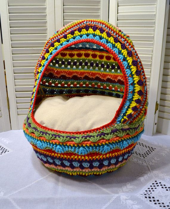 Crochet Cat Cave Pet Bed Upcycled Wicker Basket Mulitcolor Boho Handmade Littlestsister  A crocheted cat cave pet bed upcycling a wicker basket! I
