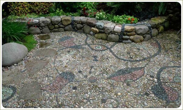 Мозаика из гальки. Мощёна площадка