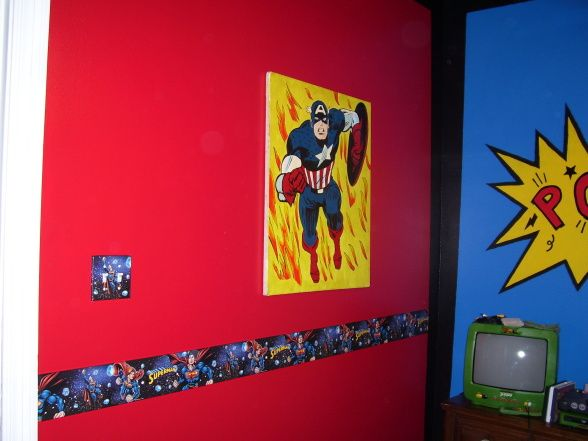 Comic book super hero bedroom boys room with a bright for Comic book bedroom ideas