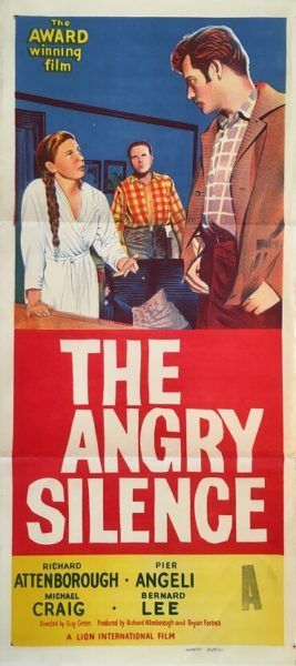 The Angry Silence 1960 Australian/NZ Daybill movie poster, staring Richard Attenborough, Pier Angeli and Michael Craig. Available for purchase from our website.