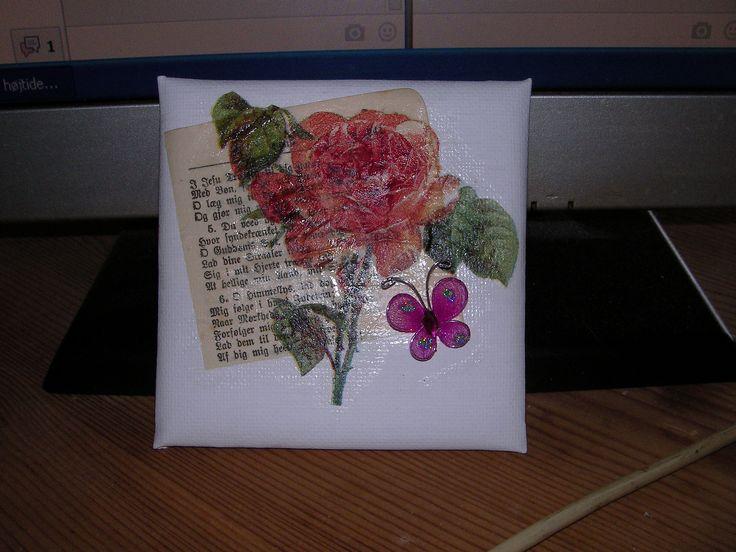 decoupage on canvas for birthday card