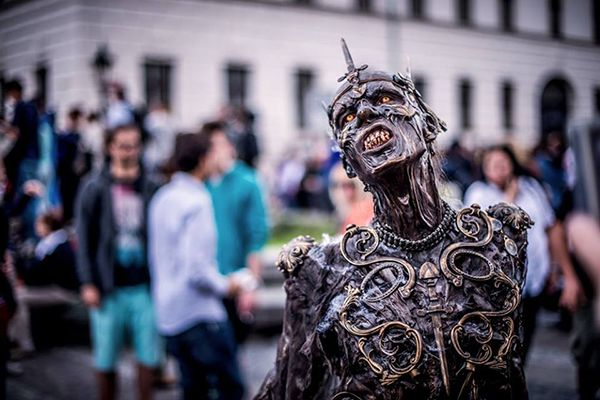 Looks like something that crawled out of a crack in the roof of hell.   FX designer Josef Rarach wins zombie cosplay as a member of the undead for the Zombie Walk in Prague.