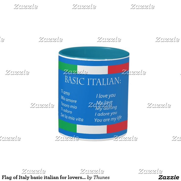 Flag of Italy basic italian for lovers azure blue Two-Tone Coffee Mug