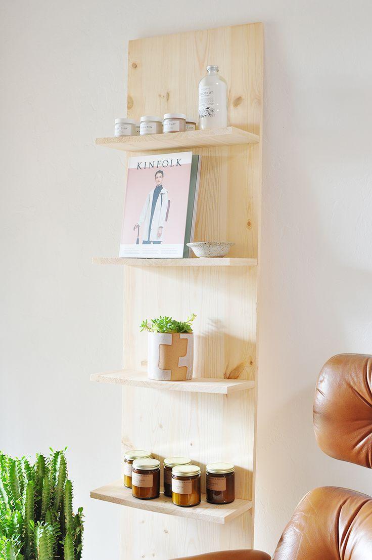 DIY Leaning Natural Wood Shelf