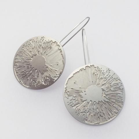 Spore Print Earrings - Www.Danielle-kathleen.com #design #lasercut #laser #cut #cad #daniellekathleen #steel #stainlesssteel #artjewellery #art #artist #jewelry #jewelery #earrings #cells #organic