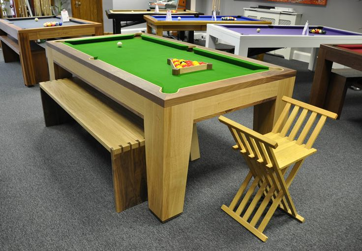 Designer Billiards Spartan Pool Table with dovetailed bench and folding 'Chisbury' Stool - 7ft, 8ft | Home Leisure Direct. www.designerbilliards.co.uk www.futureantiques.co.uk http://www.homeleisuredirect.com/pool_tables/manufacturers/designer-billiards/designer-billiards-spartan-pool-table.html