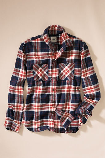 Keep him warm with a flannel workshirt for $60. It's traditional pockets and brushed flannel cotton takes it from basement workroom to a night out.