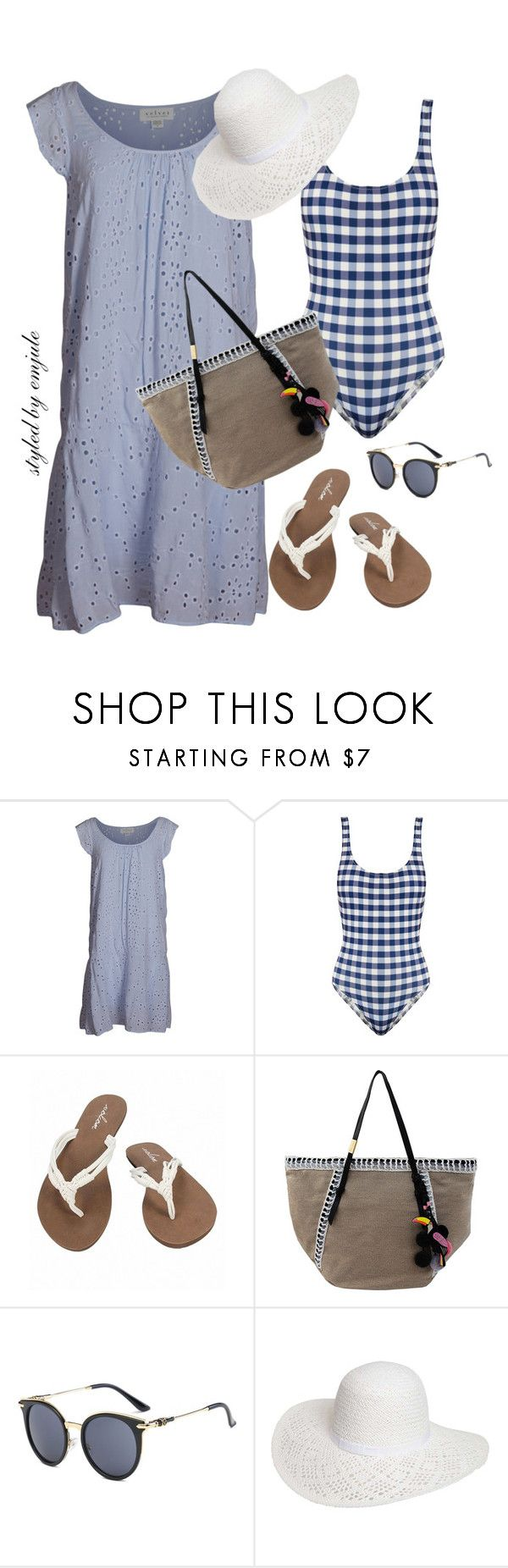 """Eyelet"" by emjule ❤ liked on Polyvore featuring Velvet by Graham & Spencer, Solid & Striped, Volcom, Foley + Corinna and Dorothy Perkins"