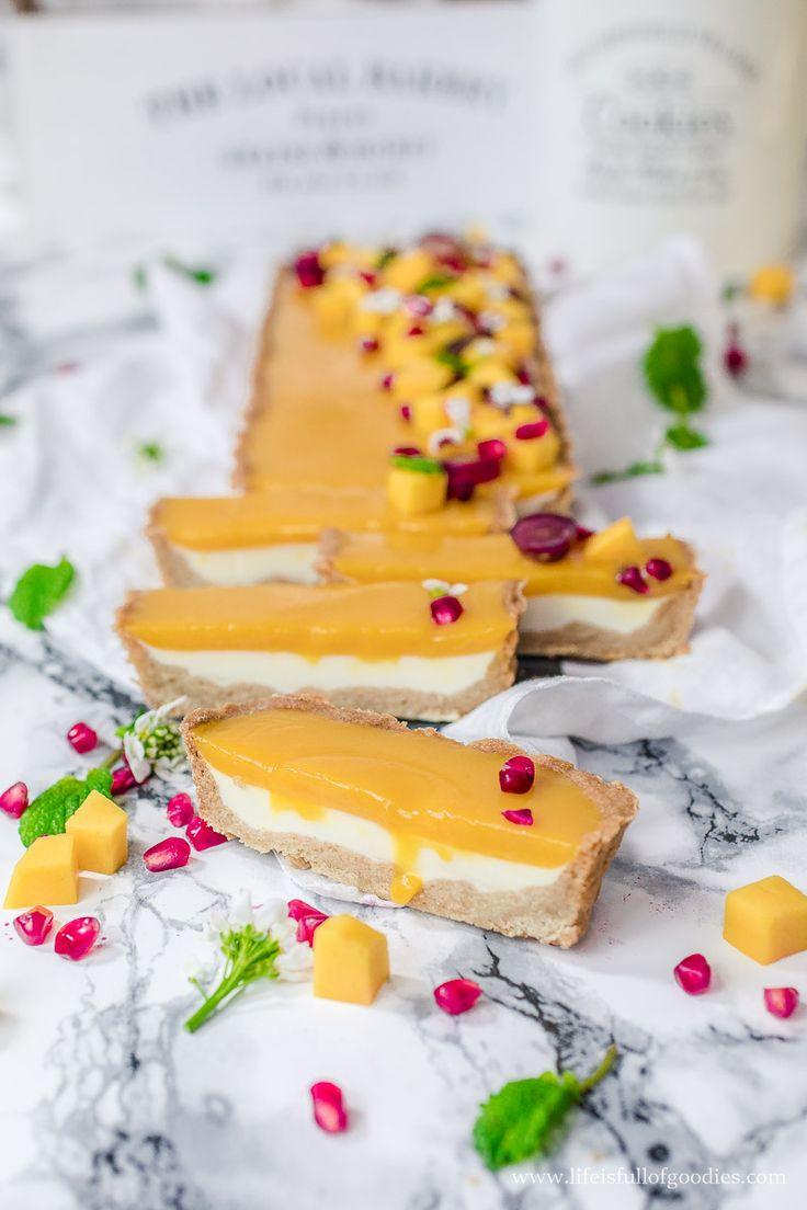 Buttermilch Panna Cotta Tarte mit Mango, leichtem Vollkornmehl und wenig Zucker   – Backen