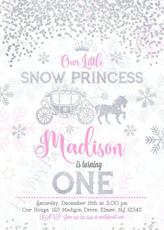 Snow Princess Invitation, Girl Winter Birthday Invitation, Snow