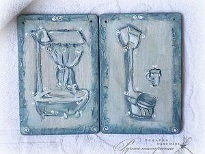 Объемный рисунок посредством  текстурной пасты (таблички для ванной комнаты и туалета) | Ярмарка Мастеров - ручная работа, handmade