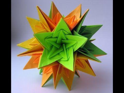 ▶ #37 Kusudama Nordblumen by Ирина Krivyakina - Yakomoga Origami tutorial - YouTube